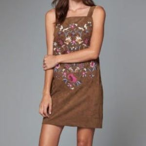 Abercrombie & Fitch Faux Suede Embroidered Dress